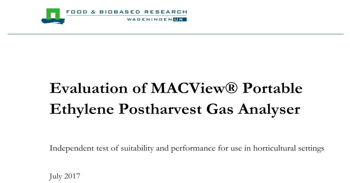 Wur Rapport Gepubliceerd Van De Ethyleen Postharvest Gas